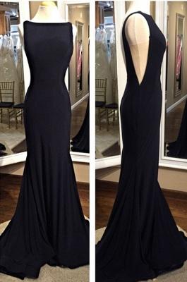 Sexy Black Sheath Prom Dress Backless Bateau evening dress_1