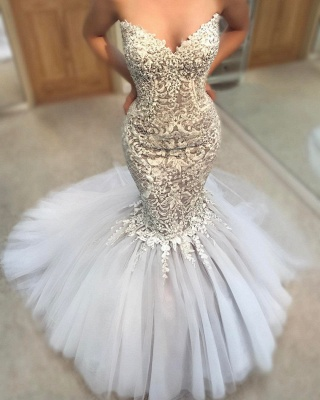 Delicate Appliques Mermaid Wedding Dress | Sweetheart Neck Tulle Skirt Bridal Gowns_3