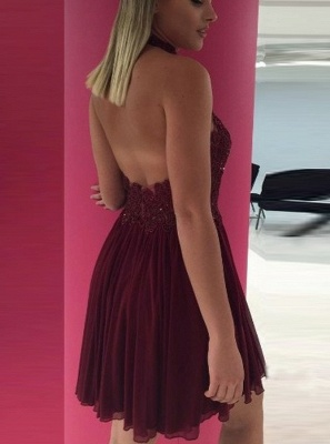 Halter Lace Appliques Chiffon A-Line Sexy Burgundy Short Homecoming Dresses_3