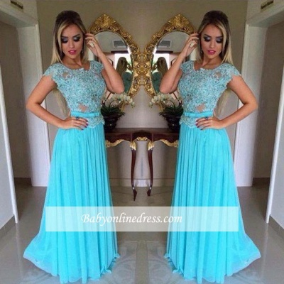 Appliques Scoop Short-Sleeves A-Line Chiffon Prom Dress_1