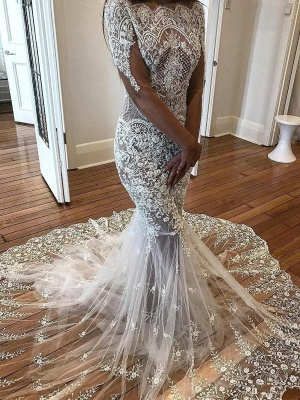 Delicate Lace Mermaid Wedding Dresses | See-Through Off-The-Shoulder Bridal Gowns_1