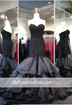Sweetheart Lace-up Modern Sweep-Train Ruffles Black Sleeveless Evening Gown_3