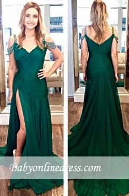 Zipper Crystal Long Split Ruffles Green A-Line Evening Dresses_3