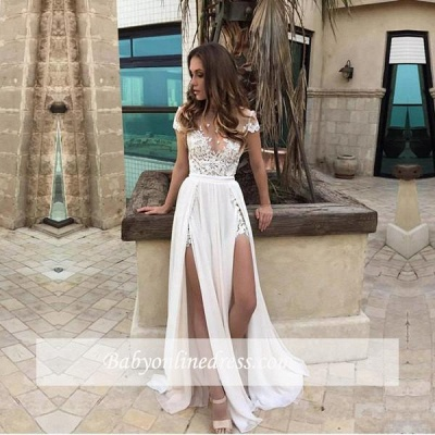 Elegant Lace-Appliques Chiffon A-line Front-Split Short-Sleeve Prom Dress_1