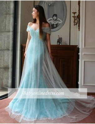 Stunning Mermaid Off-the-shoulder Prom Dress Lace Tulle Prom Dress_1