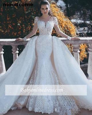 Vintage Long Lace Overskirts Mermaid Wedding Dresses_1