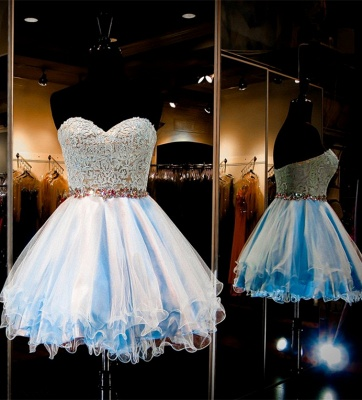 Baby Blue Short Sweetheart Homecoming Dresses A-Line Beaded Waistband_1
