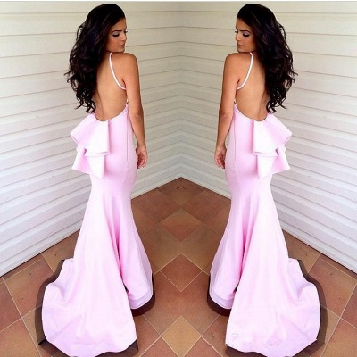 Sexy Pink Mermaid Beach Bridesmaid Dresses Layers Train Maid of the Honor Dress_4