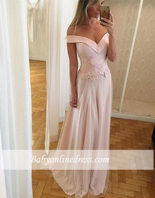 Off-the-shoulder A-line Sleeveless Prom Dresses Lace Tulle Layers Long Formal Dresses_1