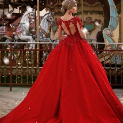 Gorgeous Long Sleeves V-Neck Princess Ball Gown Wedding Dresses_3