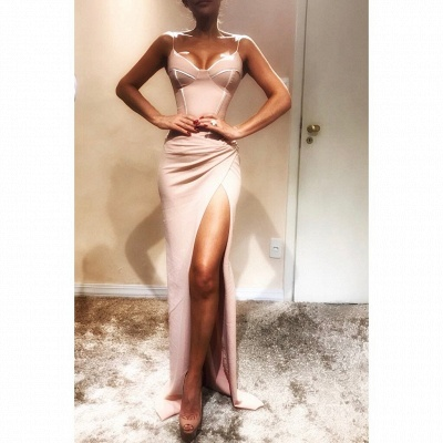 Charming Spaghetti Straps Mermaid Prom Dresses with Side Slit | Fit and Flare Long Evening Dresses_3