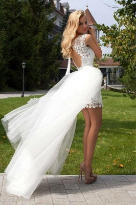 Sexy Sheath Mini Lace wedding Dress 2020 Detachable Wedding Tulle Train_1
