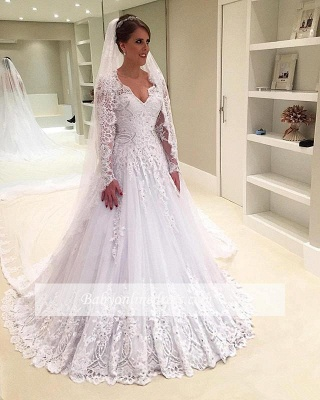 Elegant A-Line Appliques Long-Sleeves Tulle V-Neck Wedding Dresses with Beadings_1