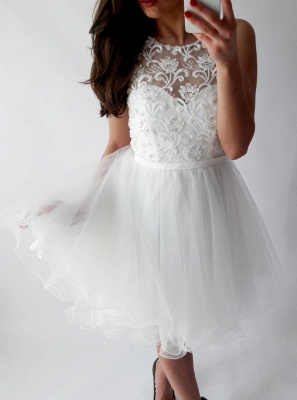Chic White A-Line Homecoming Dresses   Scoop Sleeveless Lace Applique Organza Mini Cocktail Dresses_1