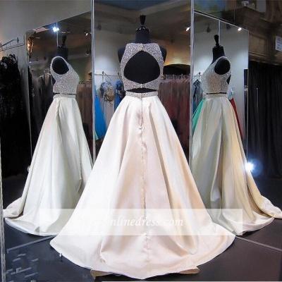2018 Sexy Two-Piece A-line Beads Prom Dress Zipper Jewel Sleeveless_3