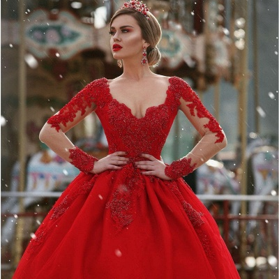 Gorgeous Long Sleeves V-Neck Princess Ball Gown Wedding Dresses_4