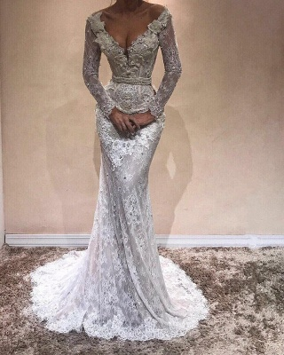 Alluring V-Neck Lace Evening Gowns | Long Sleeves Pearls Mermaid Prom Dresses_3