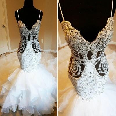 Spaghetti Straps Sheer Lace Mermaid Wedding Dresses_2