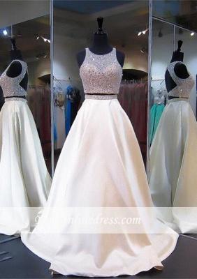 2018 Sexy Two-Piece A-line Beads Prom Dress Zipper Jewel Sleeveless_4