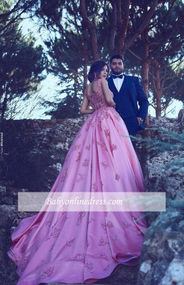 Glamorous Pink Sleeveless Prom Dress 2018 A-Line Court-Train Appliques Evening Gowns BA4562_5