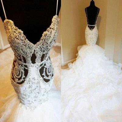 Spaghetti Straps Sheer Lace Mermaid Wedding Dresses_3