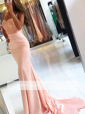 Newest Lace Appliques Evening Gowns | Sleeveless Spaghetti Straps Mermaid Prom Dresses SP0288_3