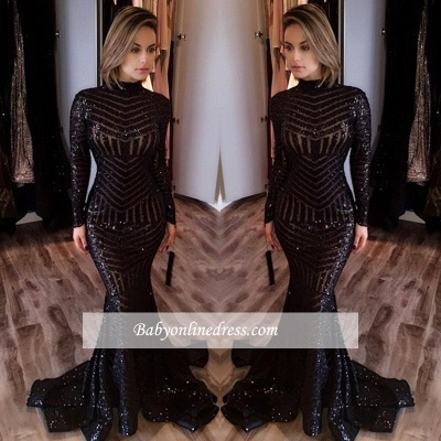 Sexy Black Mermaid High Neck Long-Sleeves Sequined Prom Dress_2
