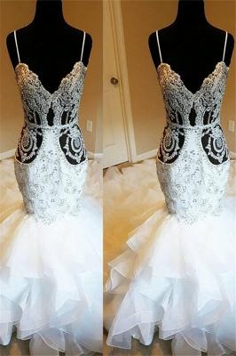 Spaghetti Straps Sheer Lace Mermaid Wedding Dresses_1