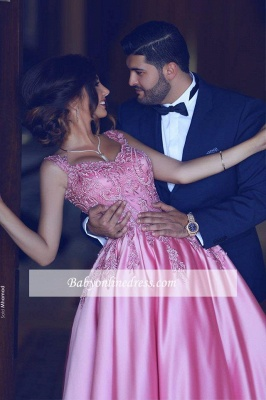 Glamorous Pink Sleeveless Prom Dress 2018 A-Line Court-Train Appliques Evening Gowns BA4562_4