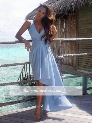 2018 Elegant Sleeveless Summer Hi-Lo V-Neck Prom Dress_3