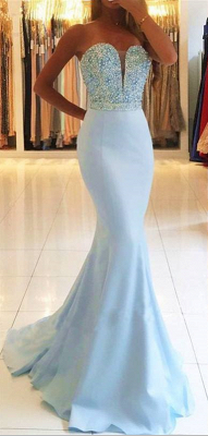 Strapless Sweetheart Backless Sweep-train Beading Mermaid Prom Dresses PD623_1