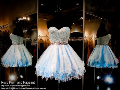 Baby Blue Short Sweetheart Homecoming Dresses A-Line Beaded Waistband_3
