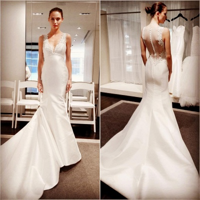 V-Neck Button Zipper Sleeveless Gorgeous Lace Mermaid Wedding Dresses_3