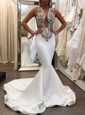 2018 Sexy Mermaid Crystal Sleeveless Court Train Prom Dress BA6494_2