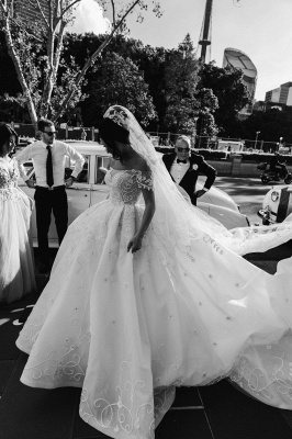 Off the Shoulder Lace Ball Gown Wedding Dresses Cheap_2
