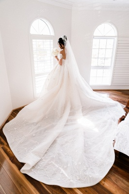 Off the Shoulder Lace Ball Gown Wedding Dresses Cheap_3