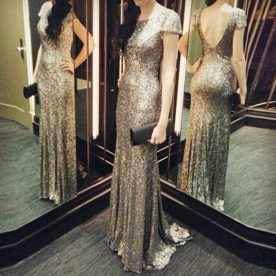 Sequins Mermaid Long Prom Dresses Cap Sleeves Backless Evening Gowns_3