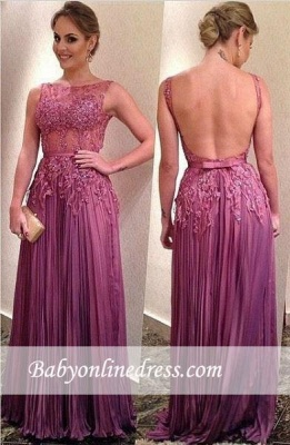 Ruffles Sleeveless A-Line Appliques Elegant Backless Prom Dresses_3
