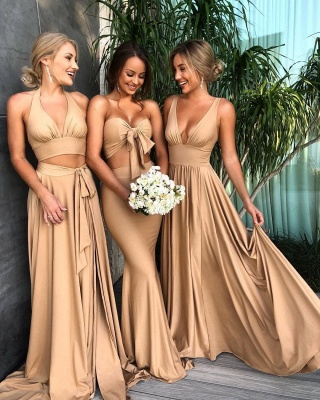 Simple Two Pieces Mermaid Bridesmaid Dresses | Halter Bows A-Line Maid Of The Honor Dresses_4