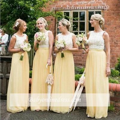 Jewel Lace Chiffon Elegant Sleeveless A-line Bridesmaid Dress_1