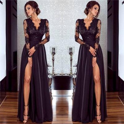 A-line Long Sleeves V-neck Split Floor-length Lace Appliques Prom Dresses_3