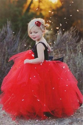 New Tulle Ball Gown Straps Black Red Flower Girl Pageant Dress_3
