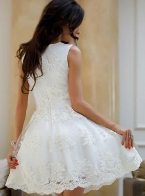 Elegant Lace A-Line Homecoming Dresses | V-Neck Sleeveless White Mini Cocktail Dresses_3