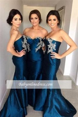 Simple Appliques Sweetheart Mermaid Bridesmaid Dresses with Beadings_1