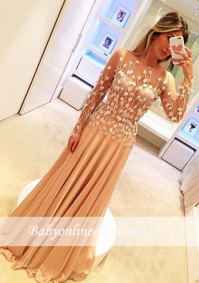 Gorgeous Long Sleeves Chiffon Evening Gowns Long Appliques Prom Dresses_3