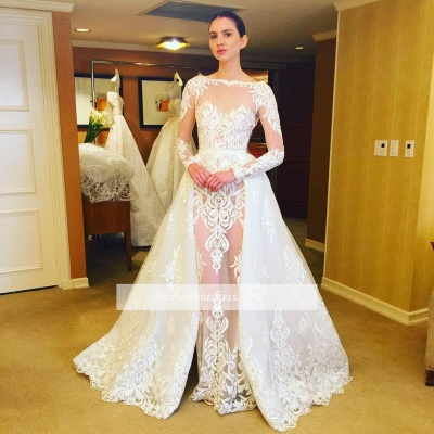 Sheer Lace Ruffles Long Sleeves Stunning Wedding Dresses with Overskirt_1