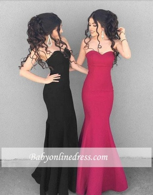 Simple Mermaid Sweetheart Prom Gowns Long Black Stylish Ruffles Evening Dresses_3