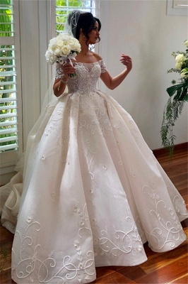 Off the Shoulder Lace Ball Gown Wedding Dresses Cheap_1