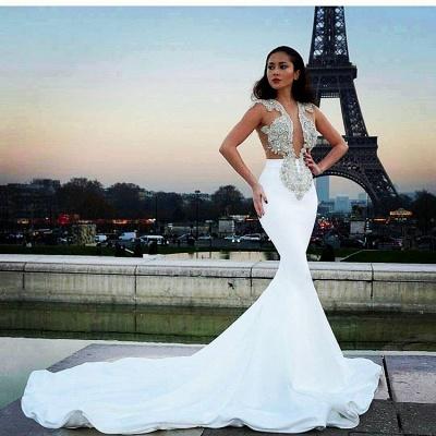 2018 Sexy Mermaid Crystal Sleeveless Court Train Prom Dress BA6494_3