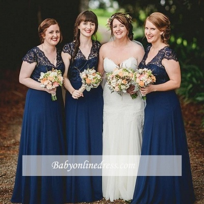 Romance Lace Chiffon Navy Blue Long Bridesmaid Dresses_1